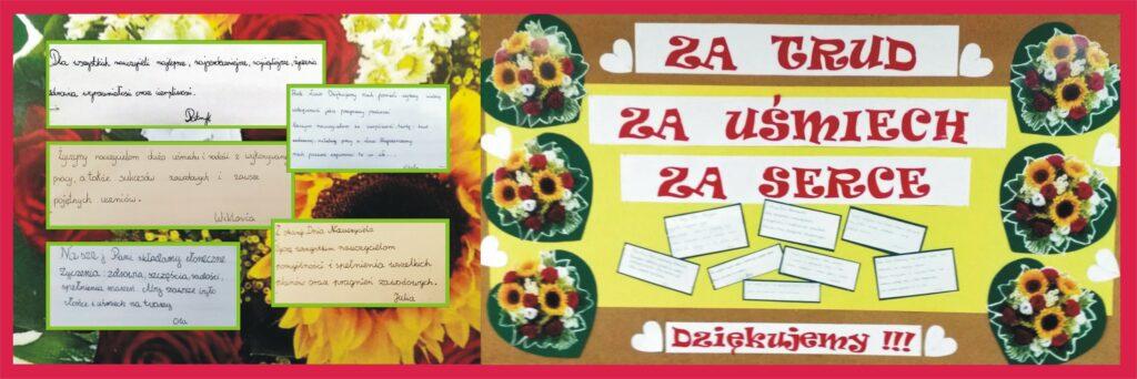 Tablica przygotowana przez uczniów dla nauczycieli z podziękowaniami za ich pracę.