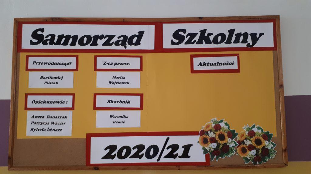 Tablica z wynikami głosowania na Samorząd Szkolny