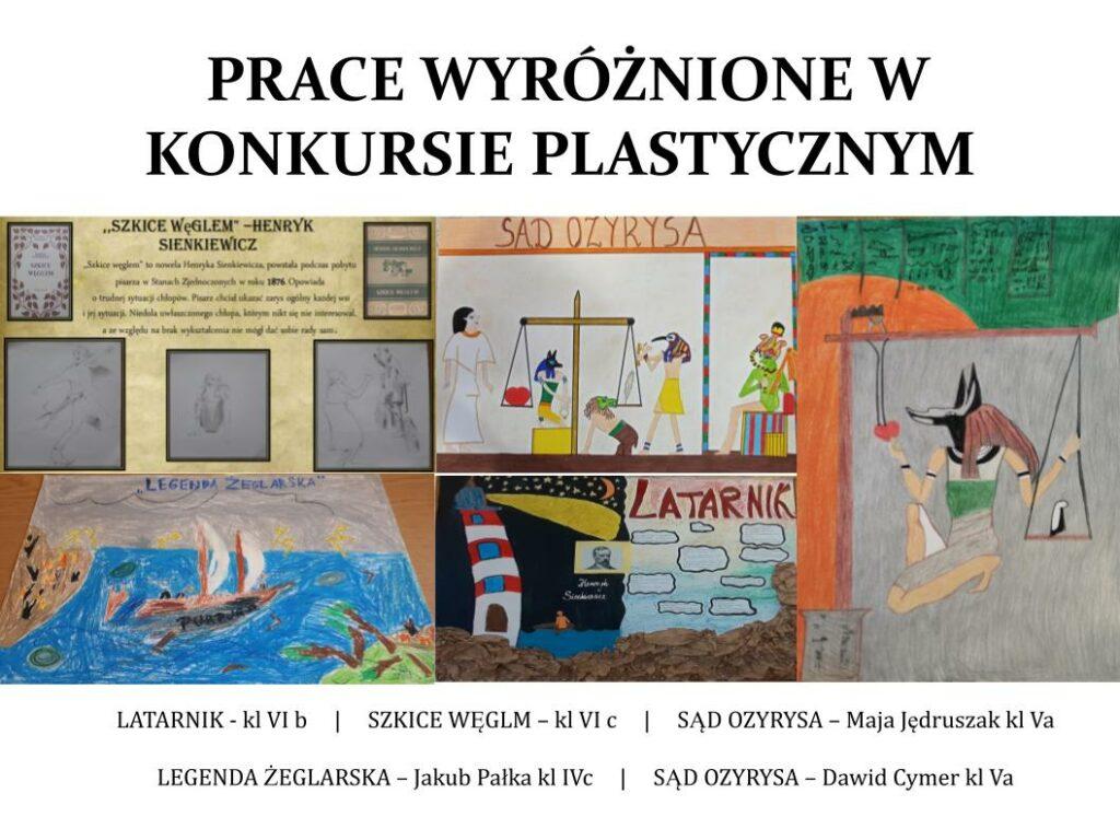 Prace wyróżnione w konkursie plastycznym: Latarnik, Szkice węglem, Sąd Ozyrysa, Legenda żeglarska, Sąd Ozyrysa