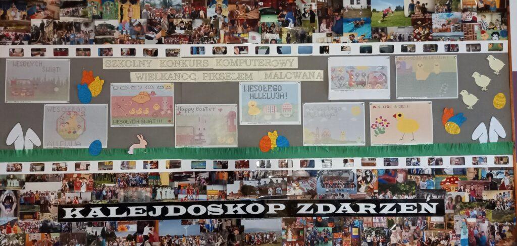 Zdjęcie tablicy z przyczepionymi pracami dzieci biorących udział w konkursie
